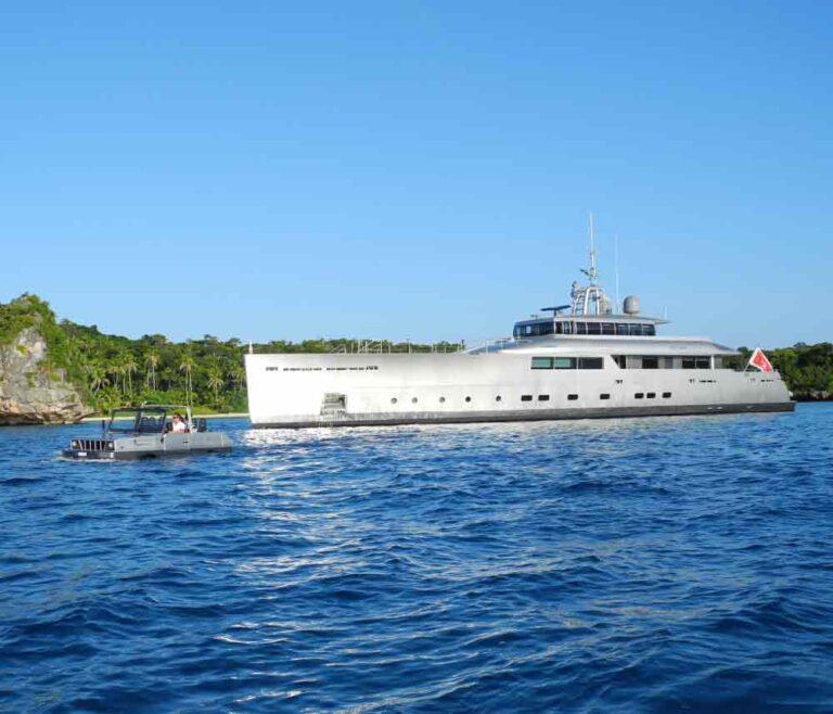 Explorer yacht in bright sea