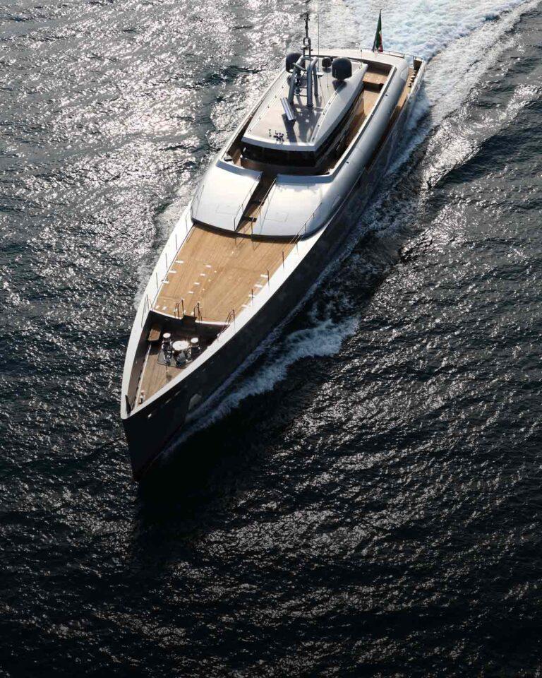 aerial of exuma explorer yacht on ocean