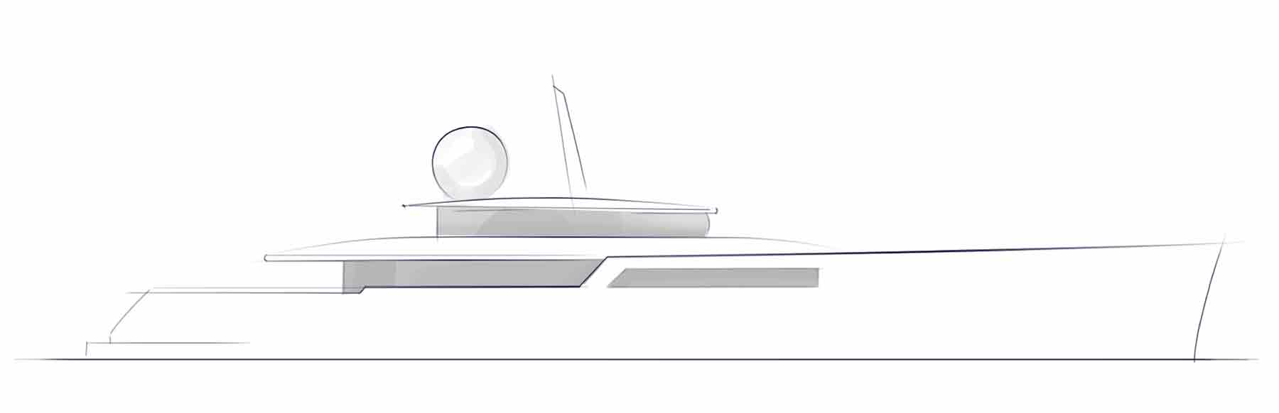 explorer yacht design sketch