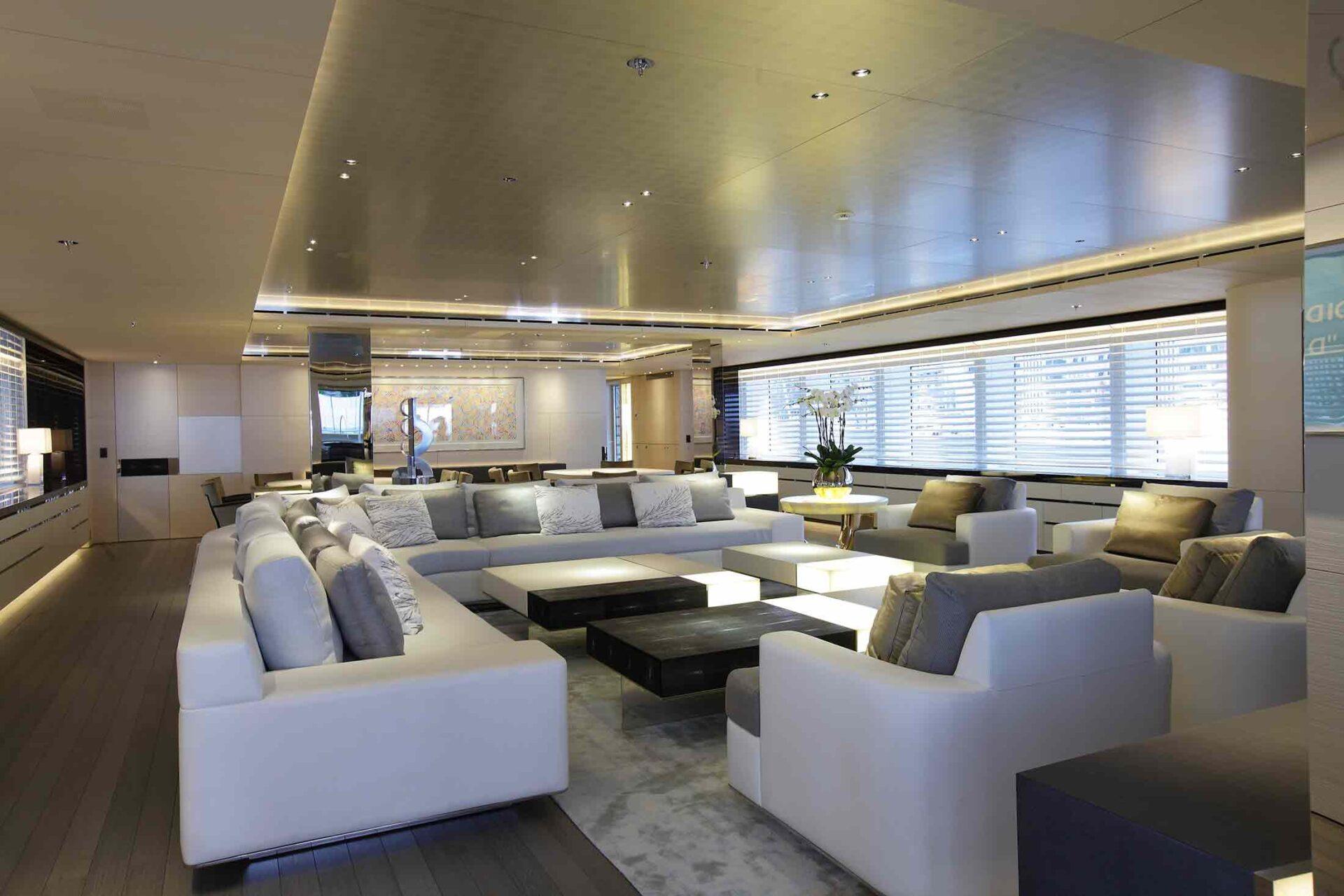 interior design on motoryacht Grace E