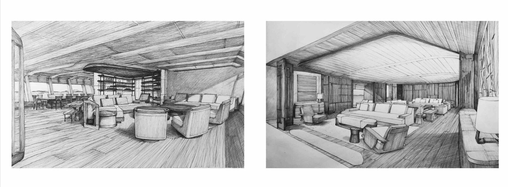 megayacht interior design sketches